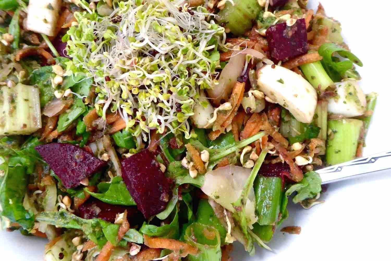 sprouted buckwheat pesto salad